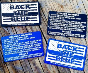 Back the Blue Aluminum Miranda Card